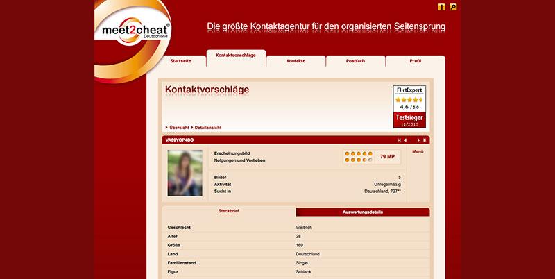 meet2cheat Profilbereich