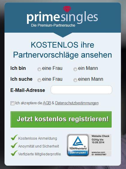 PrimeSingles Registrierung