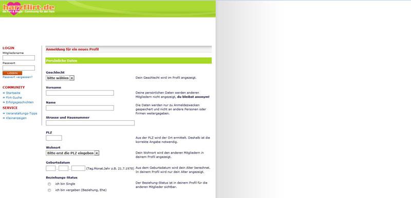 Harzflirt Registrierung