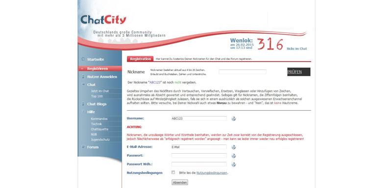 Chatcity-Anmeldung