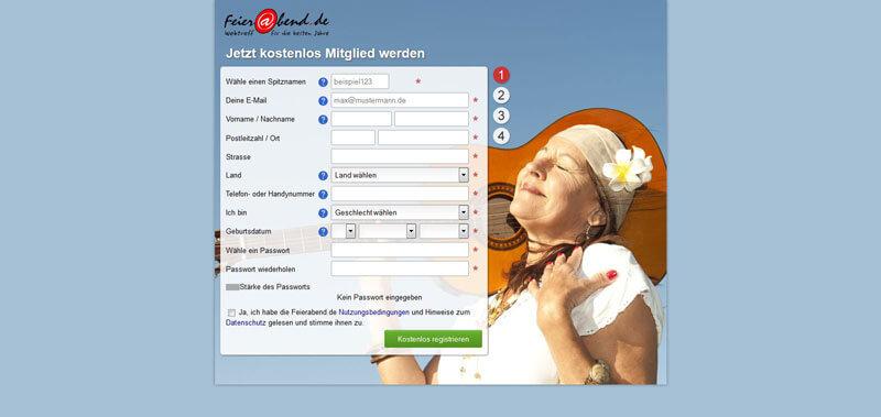Feierabend.de-Anmeldung