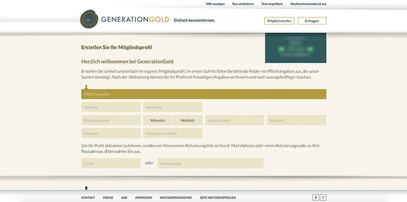 GenerationGold-Anmeldung