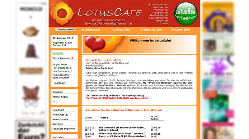 LotusCafe-Mitgliederbereich